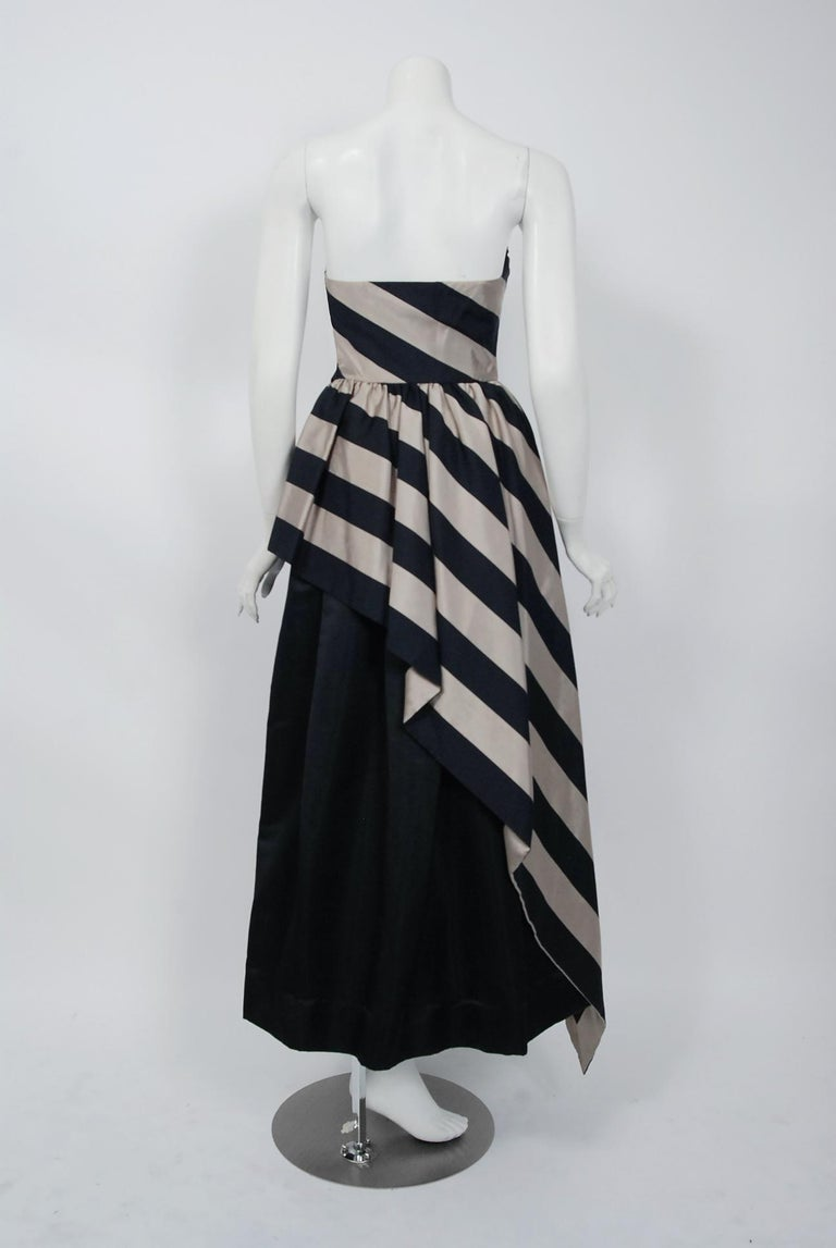 1950's Werle of Beverly Hills Black & Taupe Bold Stripe Silk Strapless Gown 3