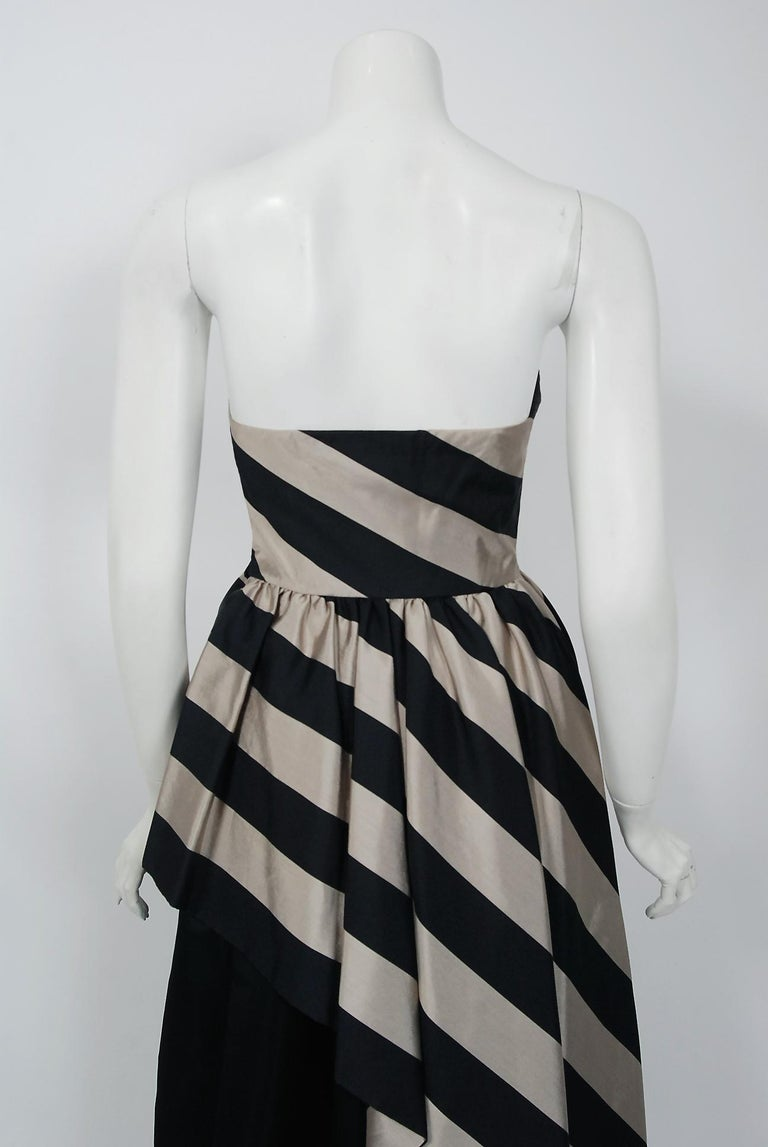 1950's Werle of Beverly Hills Black & Taupe Bold Stripe Silk Strapless Gown 4
