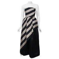1950's Werle of Beverly Hills Black & Taupe Bold Stripe Silk Strapless Gown