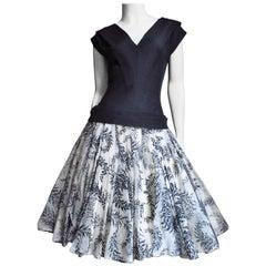 1950s Werle Silk Dress with Full Skirt