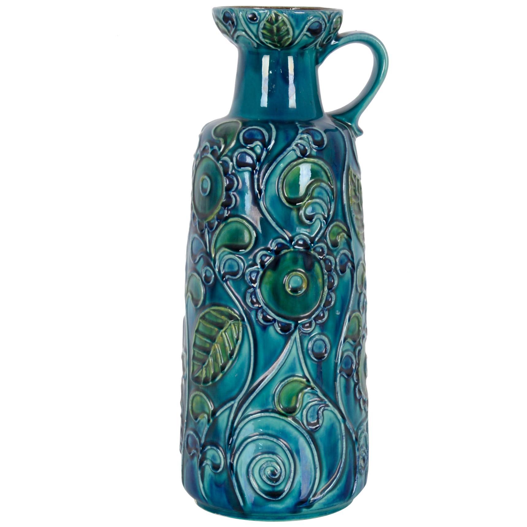 1950s West German Bay Keramik Blue Ceramic Vase