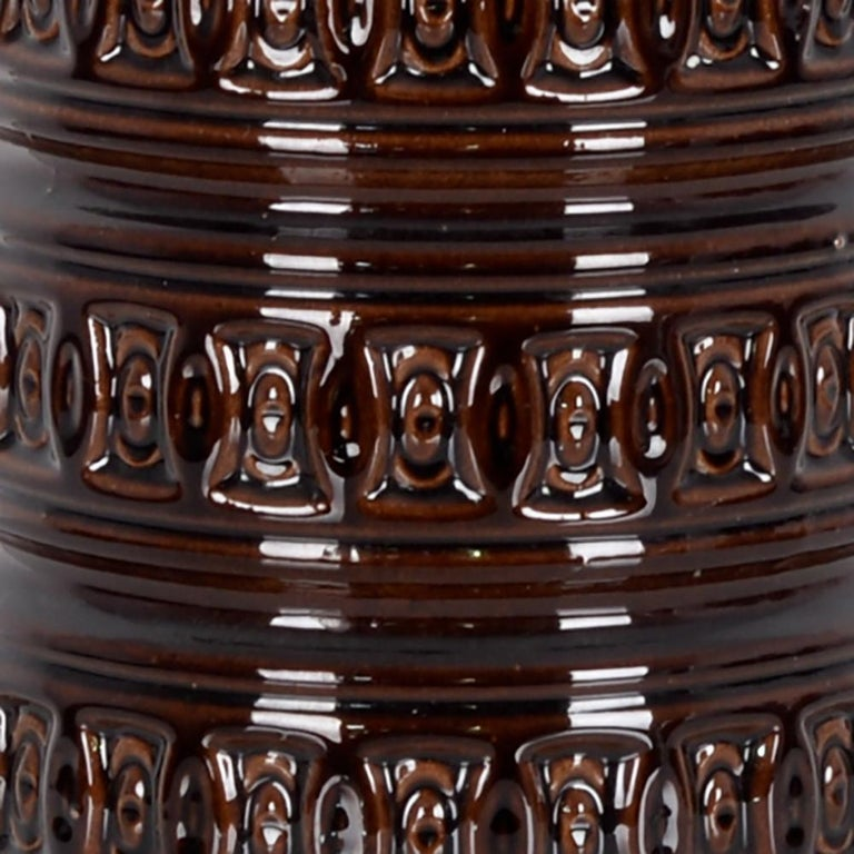 1950s West German Brown Ceramic Vase In Good Condition For Sale In High Point, NC