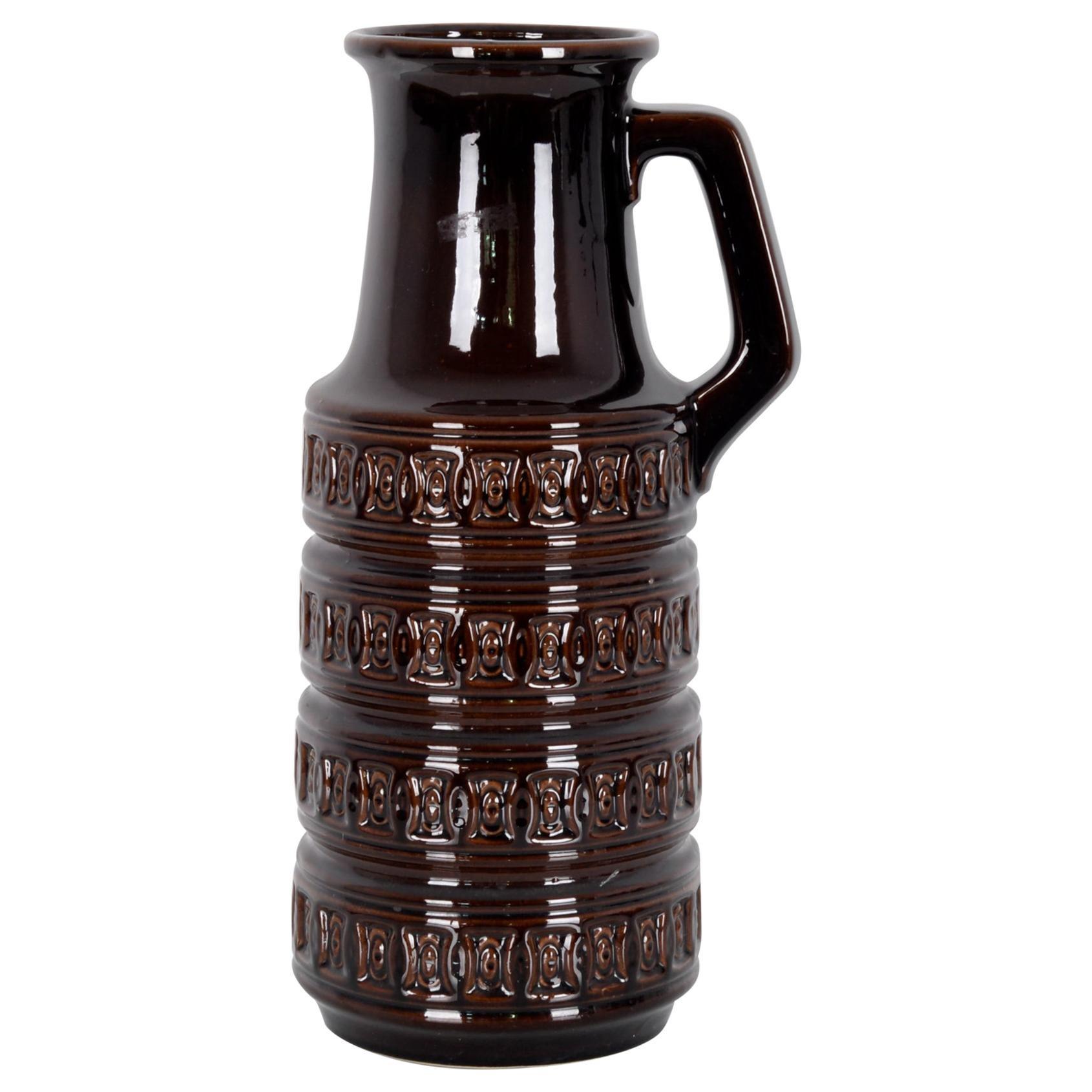 1950s West German Brown Ceramic Vase
