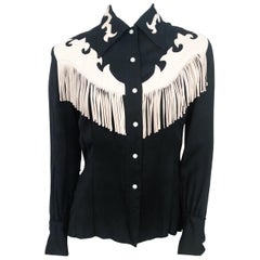 1950s Western Shirt with Cream Leather Appliqué and Fringe
