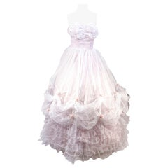 1950s White and Lavender Party Dress/Ball Gown