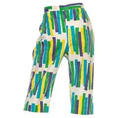 1950S White Blue & Green Cotton Geometric Print Clam Digger Pants