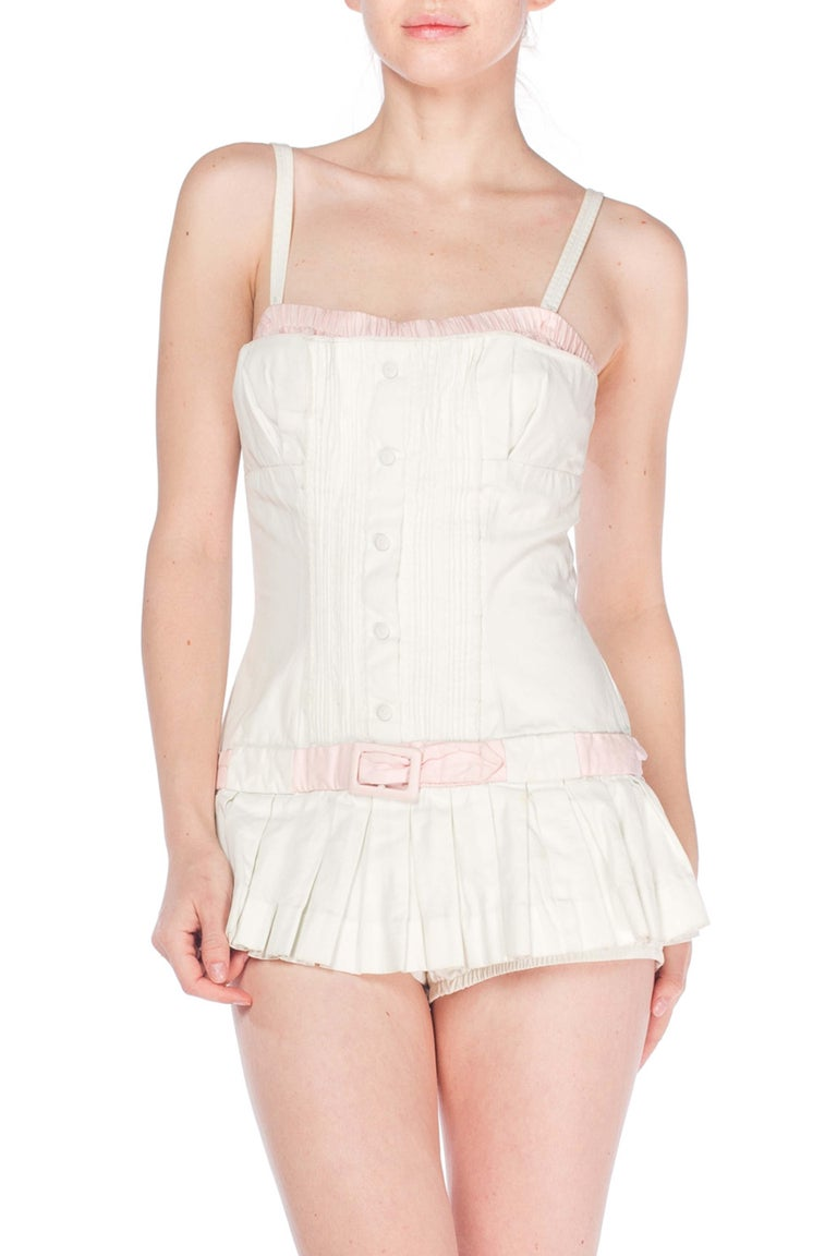 1950S White Cotton Bathing Suit With Skirt Swimsuit For Sale 1