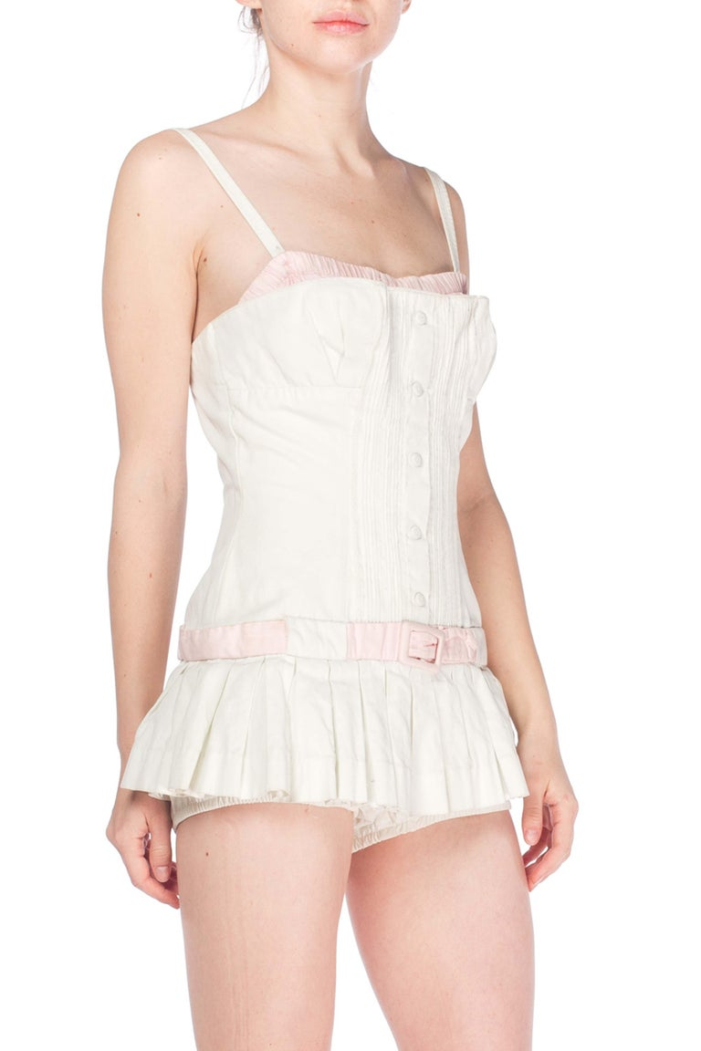 1950S White Cotton Bathing Suit With Skirt Swimsuit For Sale 2