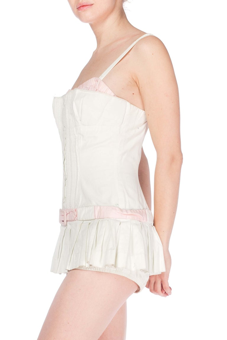 1950S White Cotton Bathing Suit With Skirt Swimsuit For Sale 3