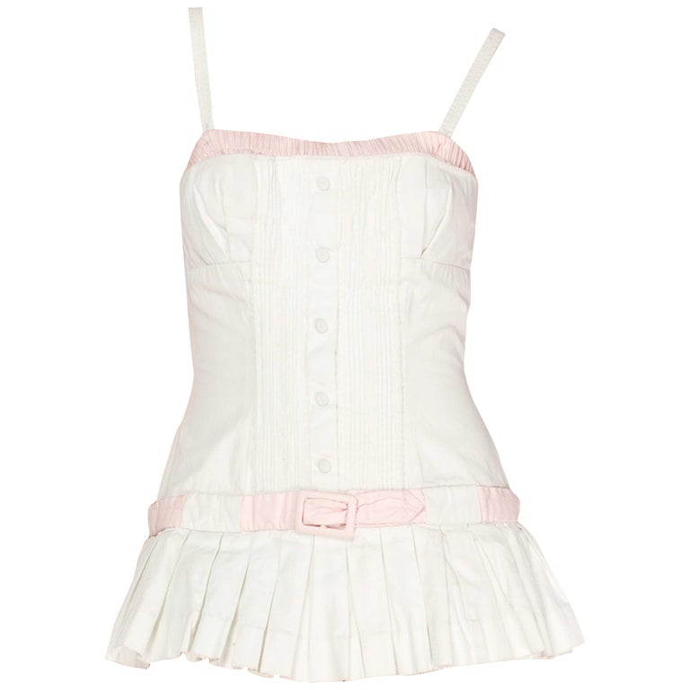 1950S White Cotton Bathing Suit With Skirt Swimsuit For Sale