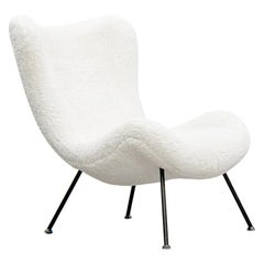 1950s White Faux Fur on Black Metal Legs Lounge Chair by Fritz Neth 'b'