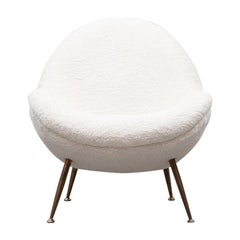 1950s White Faux Fur on Brass Legs Lounge Chair by Fritz Neth