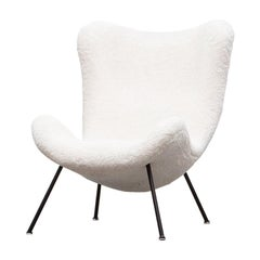 1950s White Faux Fur on black metal legs Lounge Chair by Fritz Neth 'a'