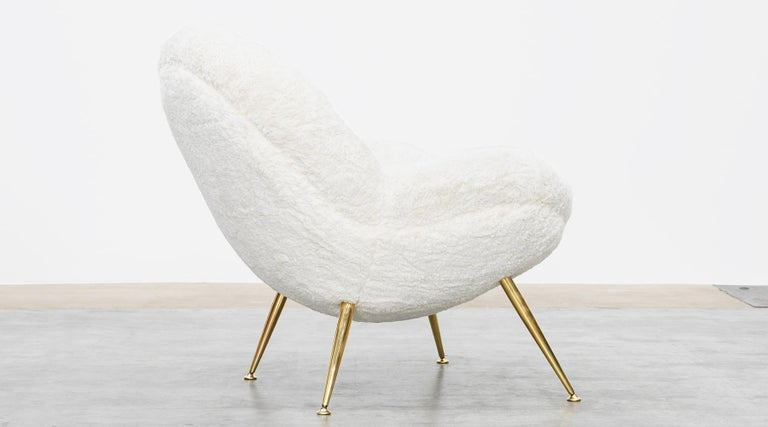 1950s White Faux Fur on Brass Legs Lounge Chairs by Fritz Neth For Sale 7