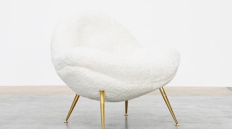 1950s White Faux Fur on Brass Legs Lounge Chairs by Fritz Neth For Sale 8
