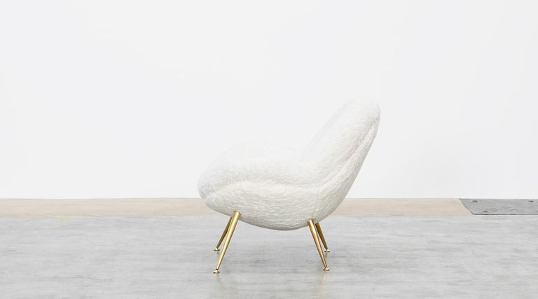 1950s White Faux Fur on Brass Legs Lounge Chairs by Fritz Neth For Sale 1