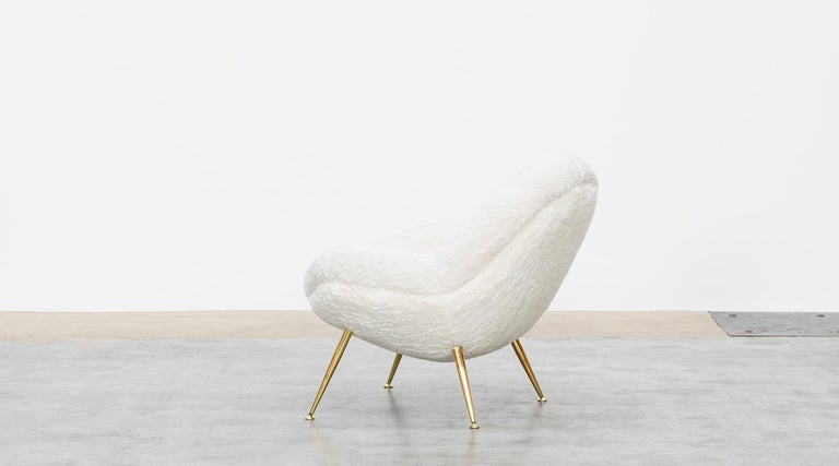 1950s White Faux Fur on Brass Legs Lounge Chairs by Fritz Neth For Sale 2