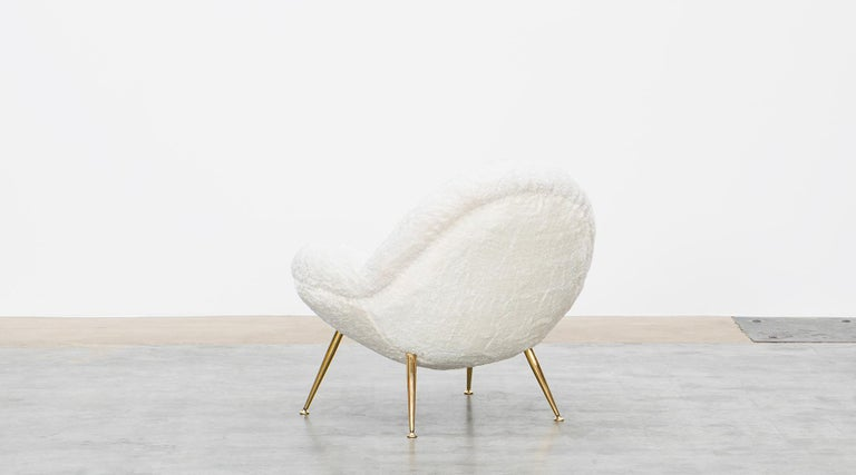 1950s White Faux Fur on Brass Legs Lounge Chairs by Fritz Neth For Sale 3