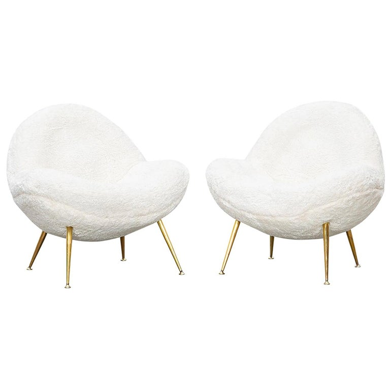 1950s White Faux Fur on Brass Legs Lounge Chairs by Fritz Neth For Sale