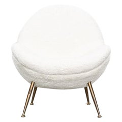 1950s White Faux Fur on Brass Legs Single Lounge Chair by Fritz Neth