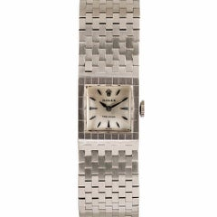1950s White Gold Rolex Buckle Bracelet Watch