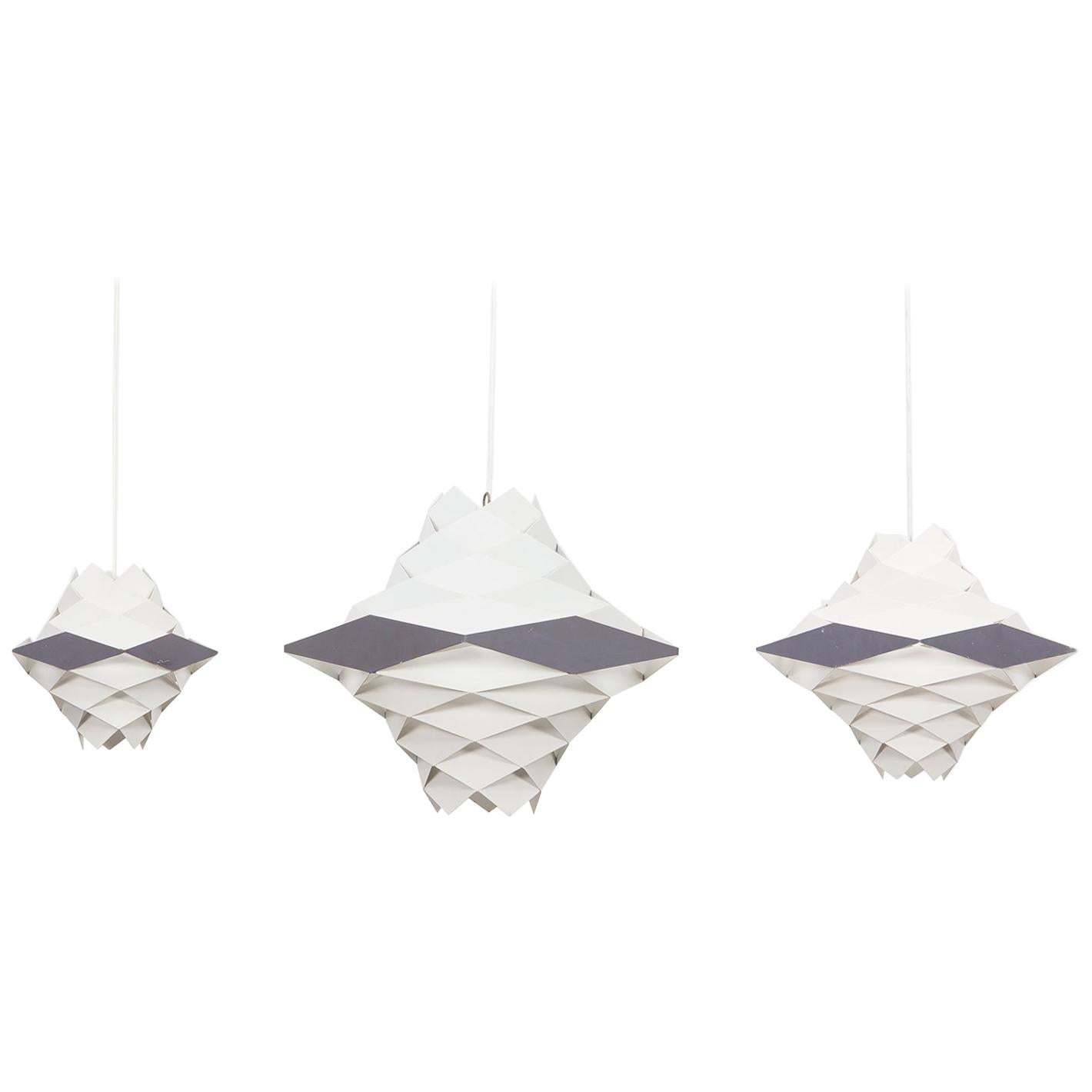 1950s White, Grey Metal Set of Three Ceiling Lamps by Preben Dahl