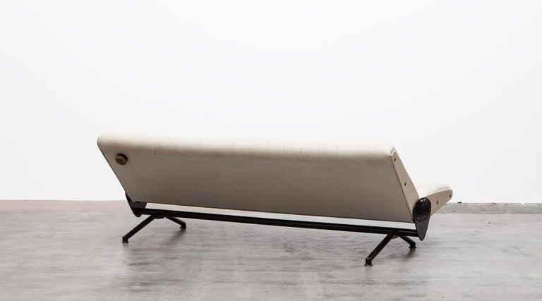 Steel 1950s White Leather Sofa by Osvaldo Borsani For Sale