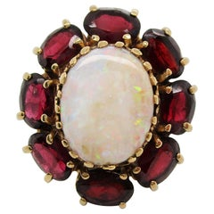 1950s White Opal and Red Garnet 14 Karat Yellow Gold Cocktail Ring