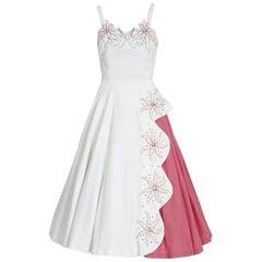 1950's White Pink Cotton-Pique Rhinestone Embroidered Floral Dress w/Bolero