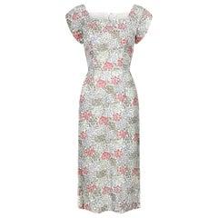 1950s White Velvet Embossed Floral Print Dress