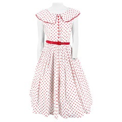 1950s White with Red Polka Dot Day Dress