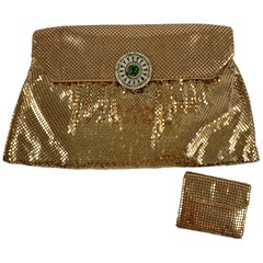 1950s Whiting and Davis Gold Mesh Jewel Closure Evening Clutch with Coin Purse