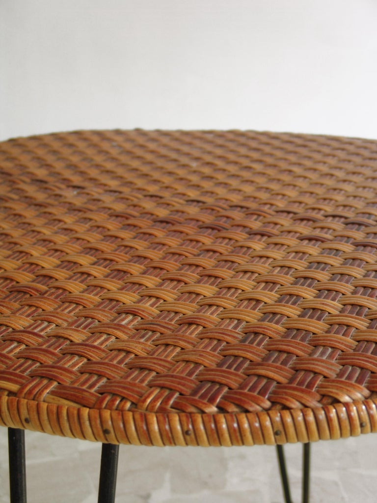 Painted 1950s Wicker Italian Mid-Century Modern Dining or Garden Table For Sale