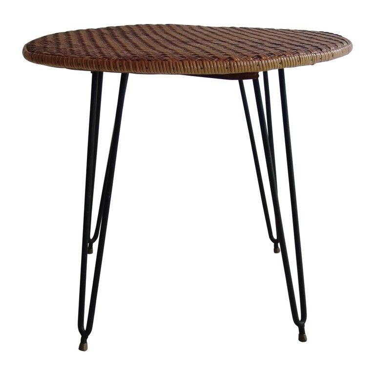 1950s Wicker Italian Mid-Century Modern Dining or Garden Table For Sale