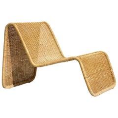1950s Wicker Rattan Italian Design Midcentury Armchair