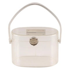 1950s Wilardy Clear Lucite Silver Hinged Box Handbag
