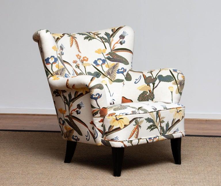 Fabric 1950s Wingback Lounge Club Chair Model