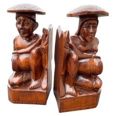 1950's Wood Carved Polynesian Couple Bookends