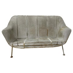 1950s Woodard Sculpture Iron Mesh Settee