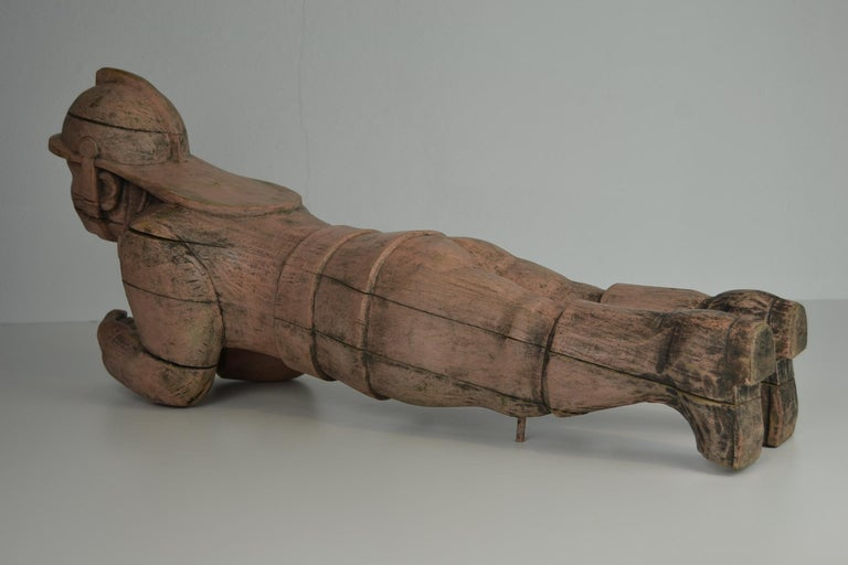 Carousel Carved Wood Fire Man Sculpture, Wilhelm Hennecke Germany, 1950s For Sale 4