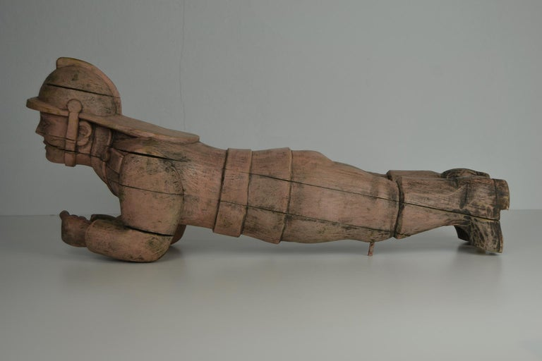 Carousel Carved Wood Fire Man Sculpture, Wilhelm Hennecke Germany, 1950s For Sale 5