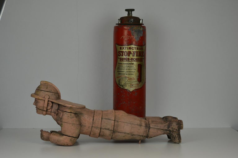 Carousel Carved Wood Fire Man Sculpture, Wilhelm Hennecke Germany, 1950s For Sale 7