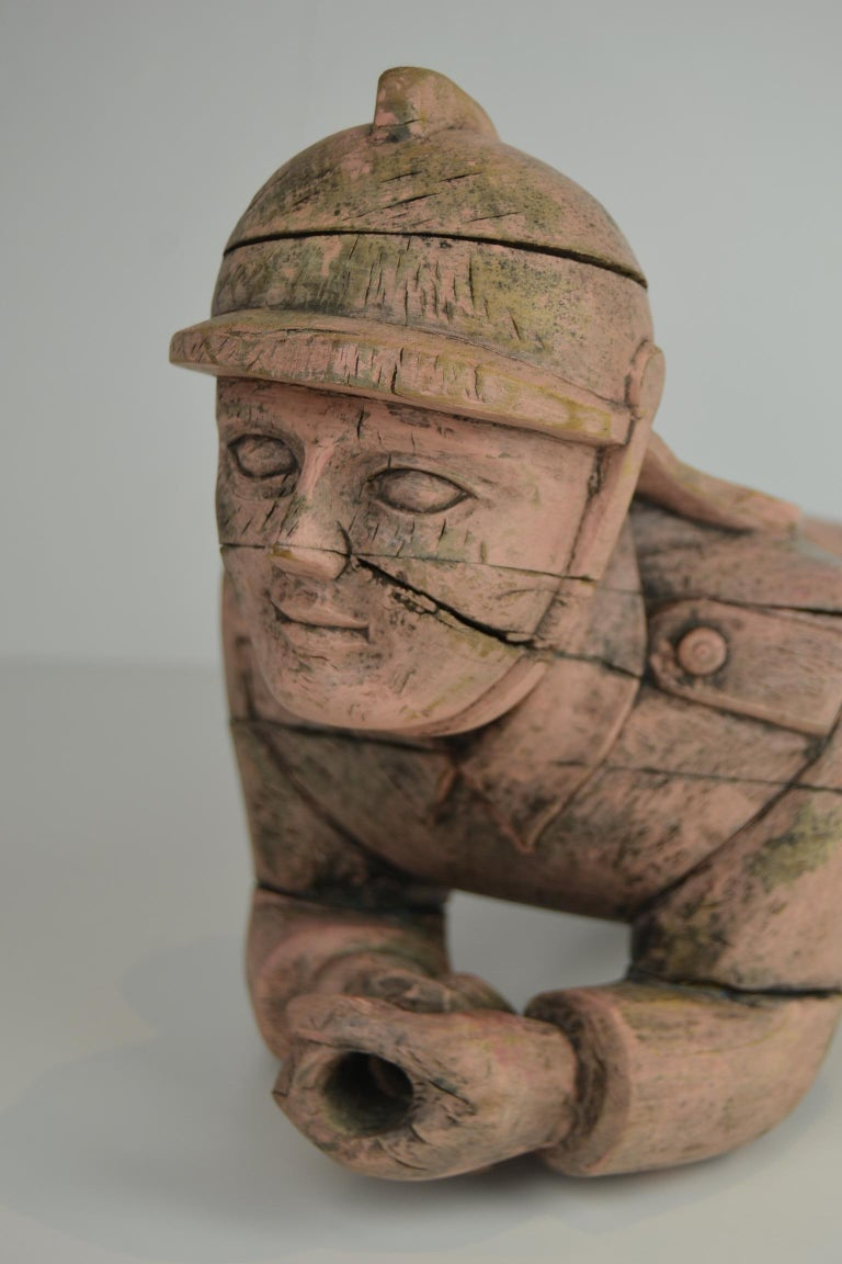 Hand-Carved Carousel Carved Wood Fire Man Sculpture, Wilhelm Hennecke Germany, 1950s For Sale