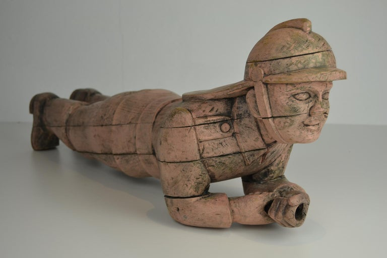 20th Century Carousel Carved Wood Fire Man Sculpture, Wilhelm Hennecke Germany, 1950s For Sale