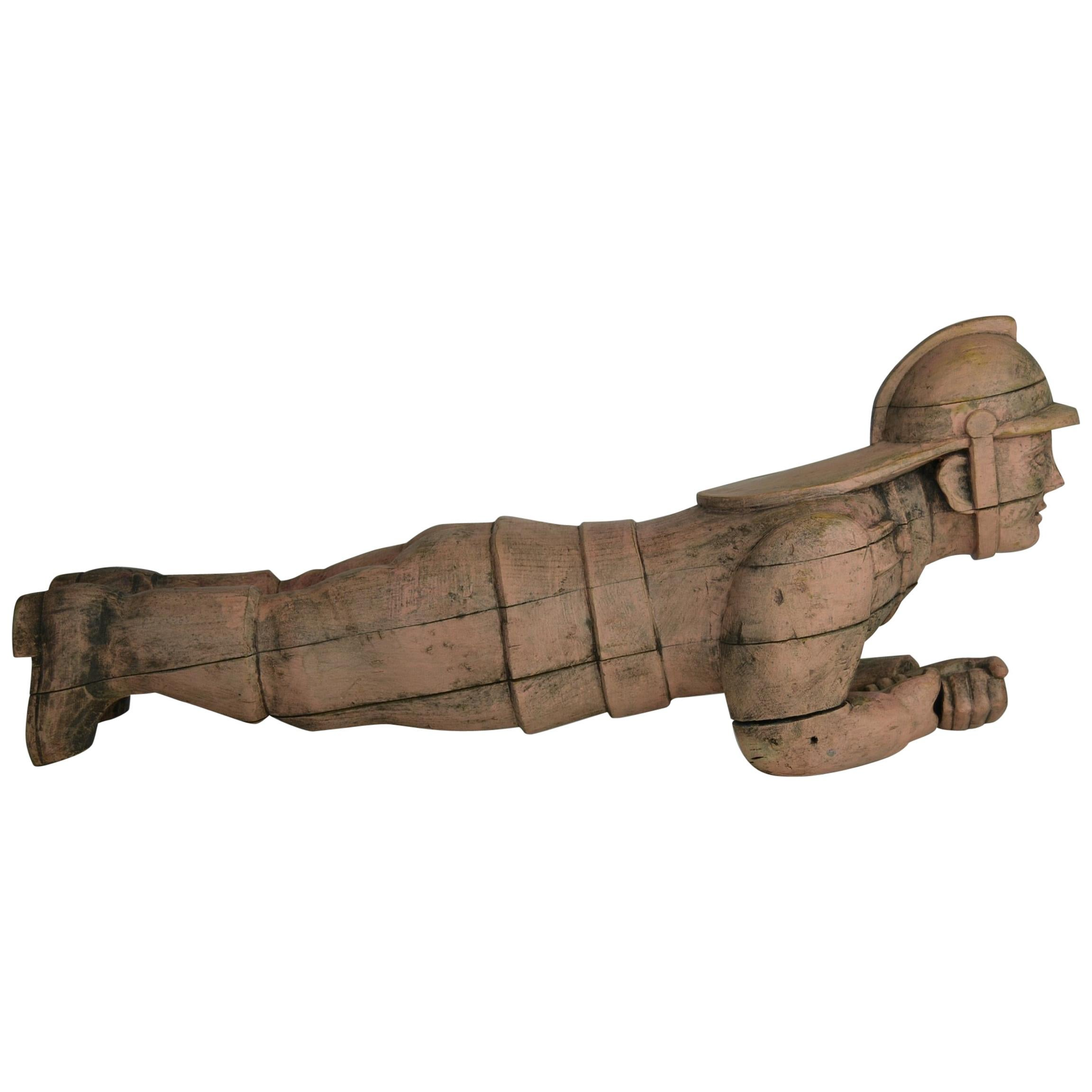 Carousel Carved Wood Fire Man Sculpture, Wilhelm Hennecke Germany, 1950s