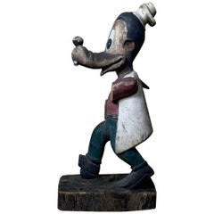 1950s Wooden Disney Goofy Mouse Sculpture