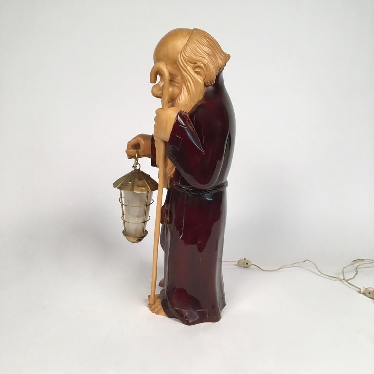 Italian 1950s Wooden Monk Lamp by Aldo Tura Signed Macabo Italy Midcentury For Sale