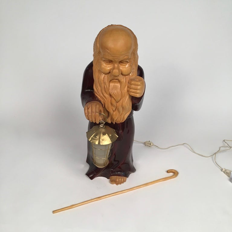 Hand-Carved 1950s Wooden Monk Lamp by Aldo Tura Signed Macabo Italy Midcentury For Sale