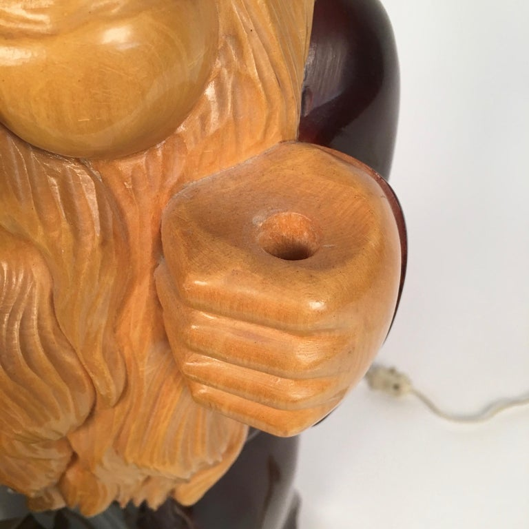 1950s Wooden Monk Lamp by Aldo Tura Signed Macabo Italy Midcentury In Good Condition For Sale In Rome, IT