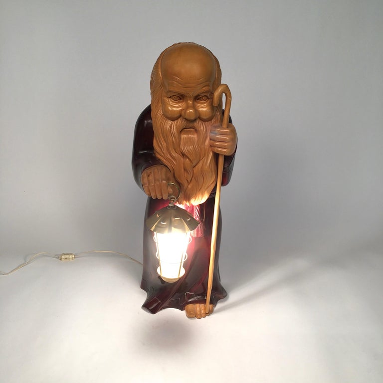 Metal 1950s Wooden Monk Lamp by Aldo Tura Signed Macabo Italy Midcentury For Sale